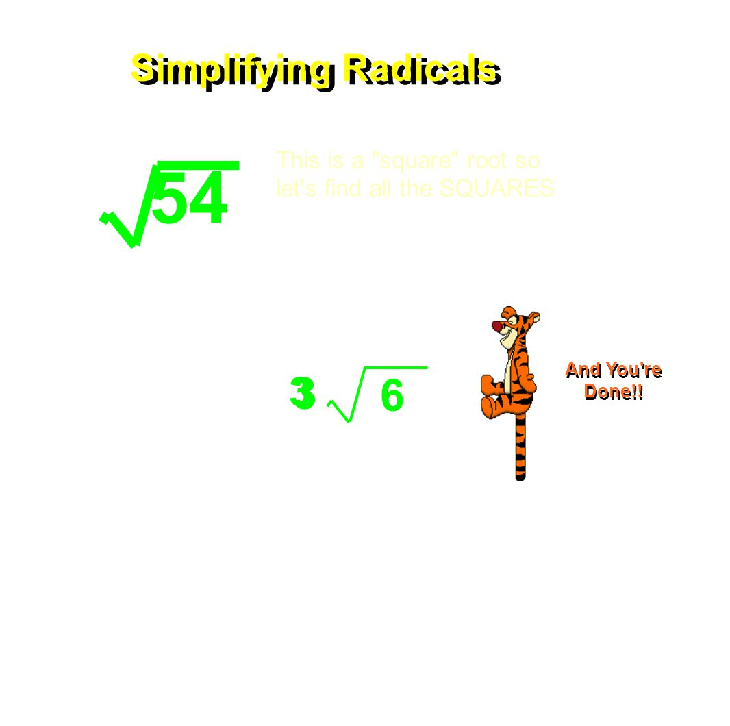 6 3 3 Simplifying Radicals 54 This is a square root so let s find all the SQUARES Multiply the remaining primes under the square root sign.