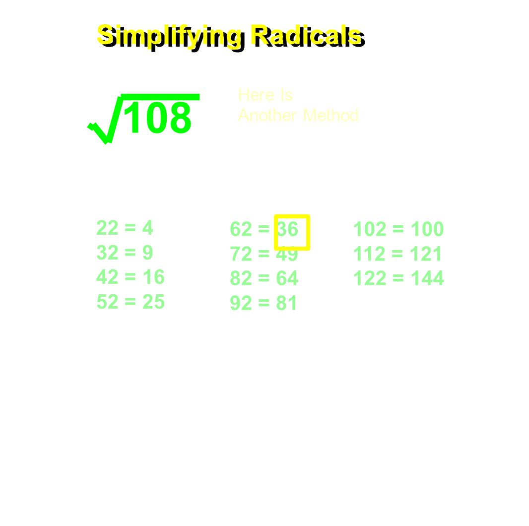 22 = 4 32 = 9 42 = 16 52 = 25 62 = 36 72 = 49 82 = 64 92 = 81 102 = 100 112 = 121 122 = 144 Simplifying Radicals 108 Here Is Another Method Find the largest perfect square that will divide evenly into the radical.