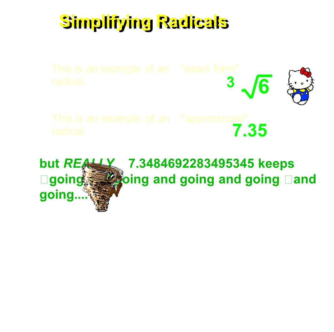 Simplifying Radicals 252 Lastly...The Calculator Method 2nd GRAPH Choose the lowest y INTEGER.