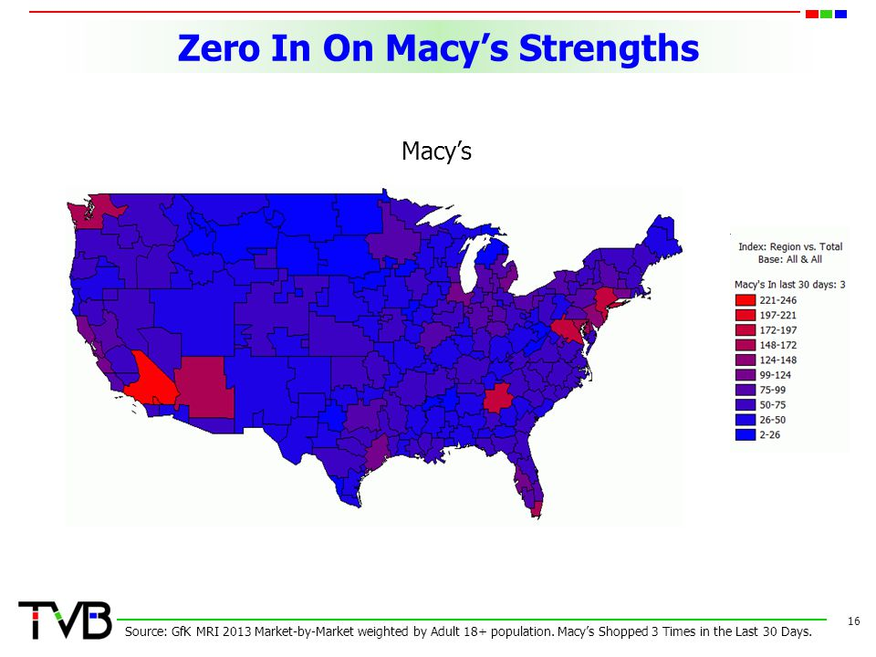 Zero In On Macy's Strengths 16 Source: GfK MRI 2013 Market-by-Market weighted by Adult 18+ population.