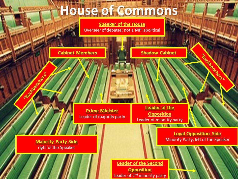 House of Commons Loyal Opposition Side Minority Party; left of the Speaker Majority Party Side right of the Speaker Speaker of the House Overseer of d