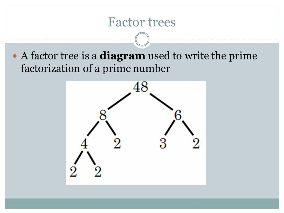 Factor trees A factor tree is a diagram used to write the prime factorization of a prime number