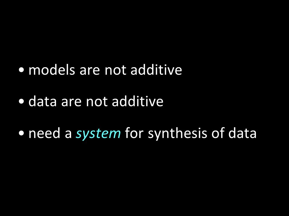 models are not additive data are not additive need a system for synthesis of data