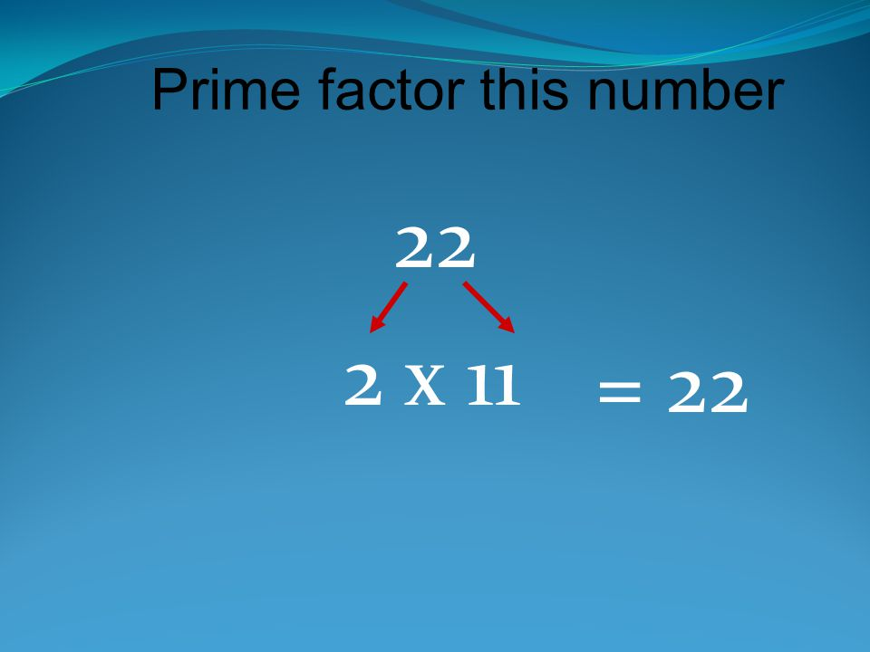 Prime factor this number 22 2 x 11 = 22