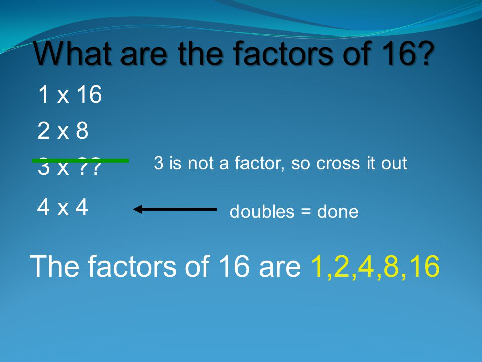 What are the factors of 16.1 x 16 2 x 8 3 x ?.