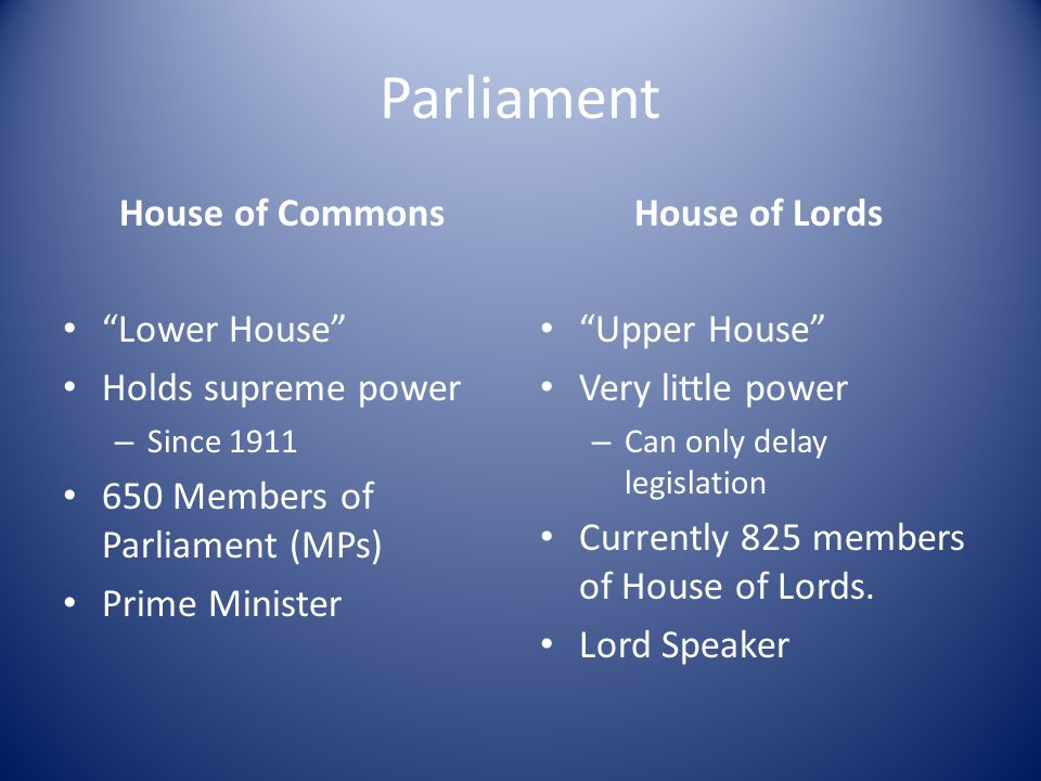 Parliament House of Commons Lower House Holds supreme power – Since 1911 650 Members of Parliament (MPs) Prime Minister House of Lords Upper House Very little power – Can only delay legislation Currently 825 members of House of Lords.