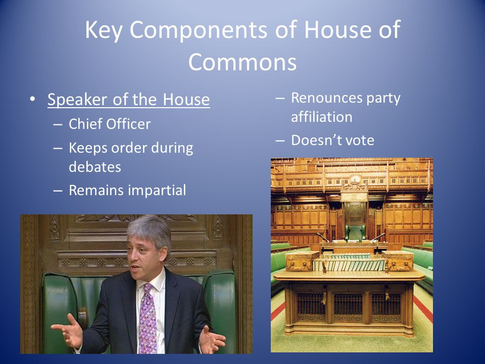 Key Components of House of Commons Speaker of the House – Chief Officer – Keeps order during debates – Remains impartial – Renounces party affiliation