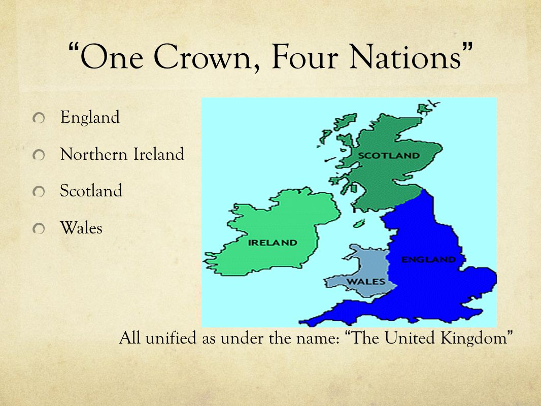 """One Crown, Four Nations"" England Northern Ireland Scotland Wales All unified as under the name: ""The United Kingdom"""