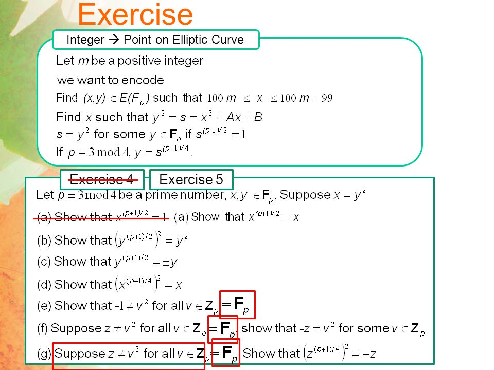 Exercise Integer  Point on Elliptic Curve Exercise 4Exercise 5