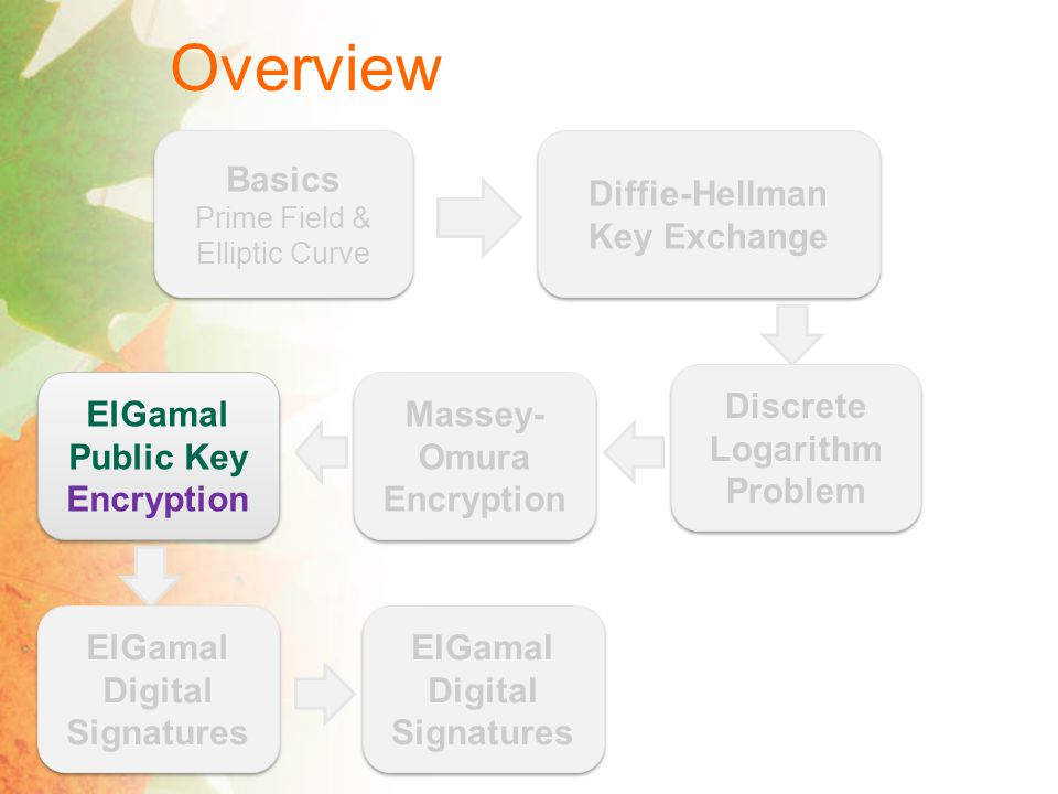 Overview Basics Prime Field & Elliptic Curve Basics Prime Field & Elliptic Curve Diffie-Hellman Key Exchange Discrete Logarithm Problem Massey- Omura Encryption ElGamal Public Key Encryption ElGamal Digital Signatures