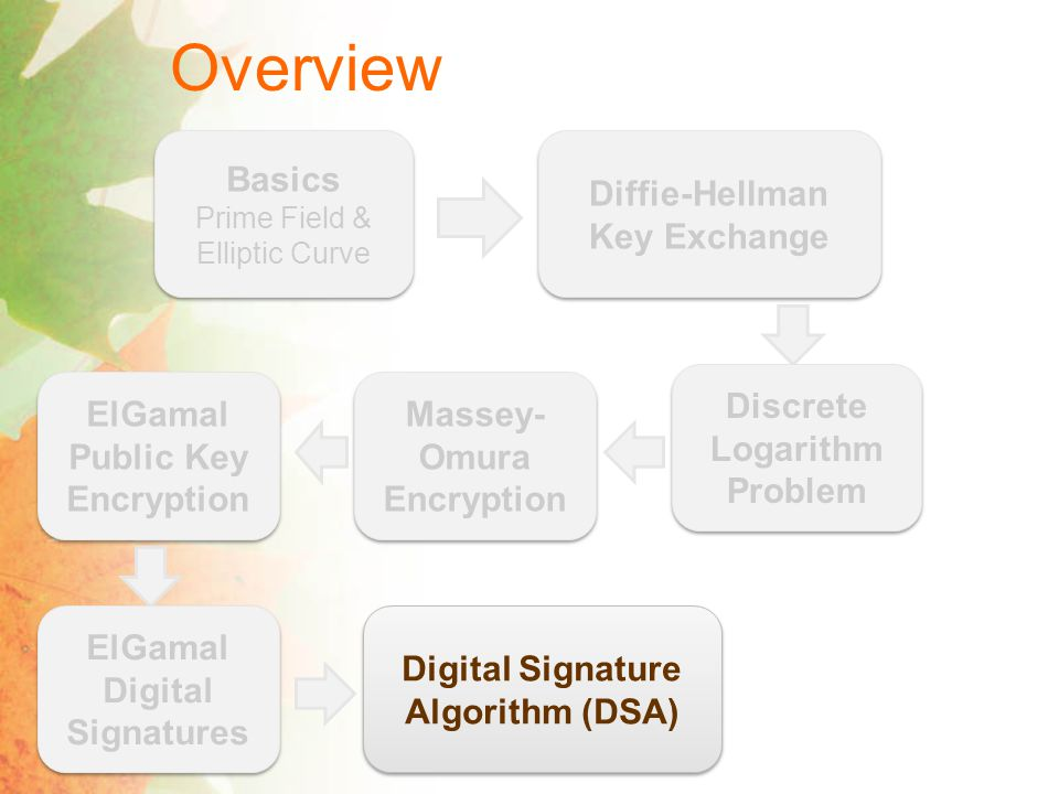Overview Basics Prime Field & Elliptic Curve Basics Prime Field & Elliptic Curve Diffie-Hellman Key Exchange Discrete Logarithm Problem Massey- Omura Encryption ElGamal Public Key Encryption ElGamal Digital Signatures Digital Signature Algorithm (DSA)