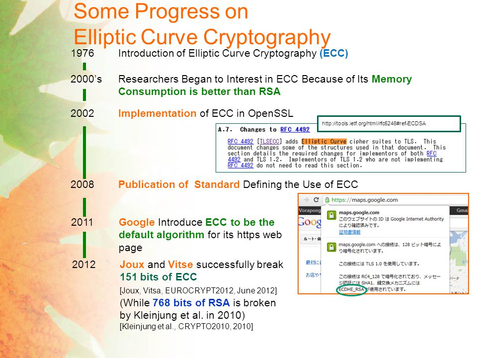 Some Progress on Elliptic Curve Cryptography 1976Introduction of Elliptic Curve Cryptography (ECC) 2000'sResearchers Began to Interest in ECC Because of Its Memory Consumption is better than RSA 2002Implementation of ECC in OpenSSL 2008Publication of Standard Defining the Use of ECC http://tools.ietf.org/html/rfc5246#ref-ECDSA 2011Google Introduce ECC to be the default algorithm for its https web page 2012Joux and Vitse successfully break 151 bits of ECC [Joux, Vitsa, EUROCRYPT2012, June 2012] (While 768 bits of RSA is broken by Kleinjung et al.