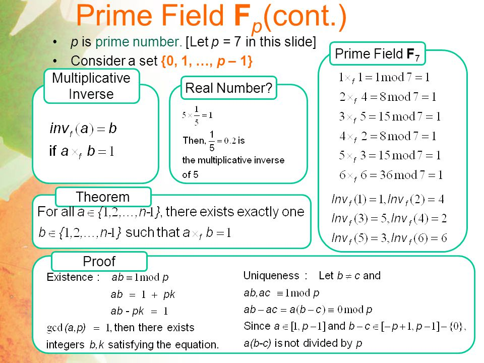 Prime Field F p (cont.) Multiplicative Inverse Real Number.