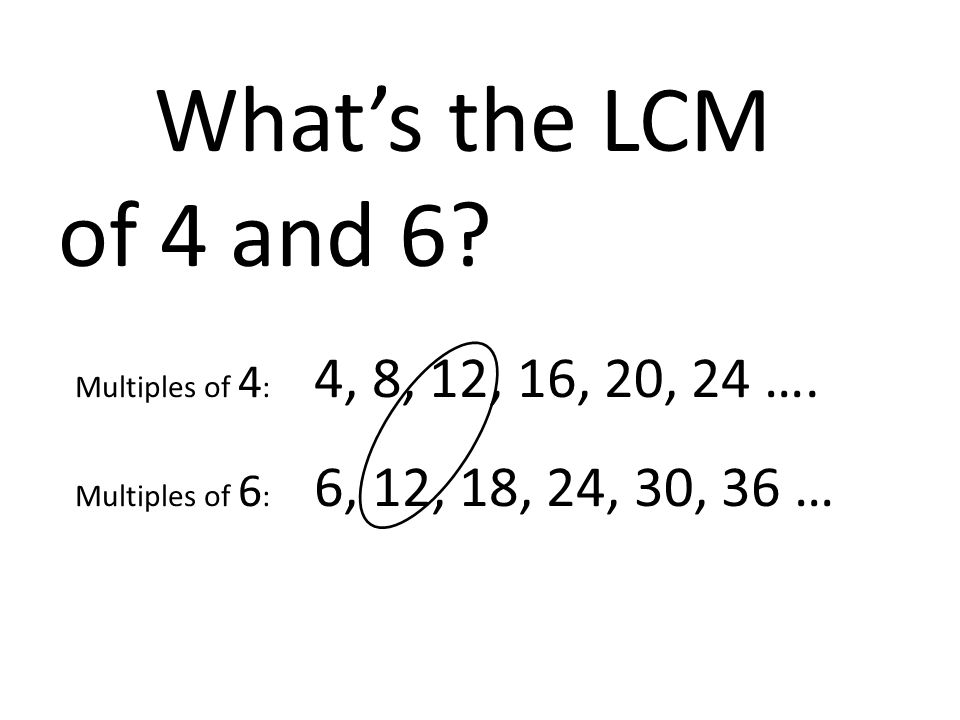What's the LCM of 4 and 6? Multiples of 4 : 4, 8, 12, 16, 20, 24 …. Multiples of 6 : 6, 12, 18, 24, 30, 36 …