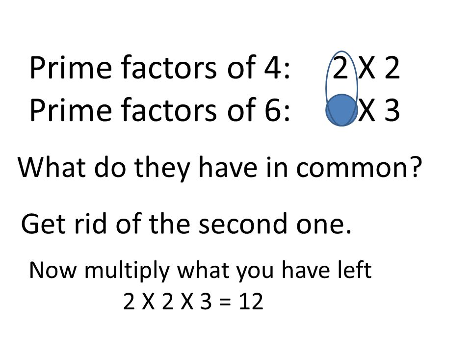 Prime factors of 4: 2 X 2 Prime factors of 6: 2 X 3 What do they have in common.