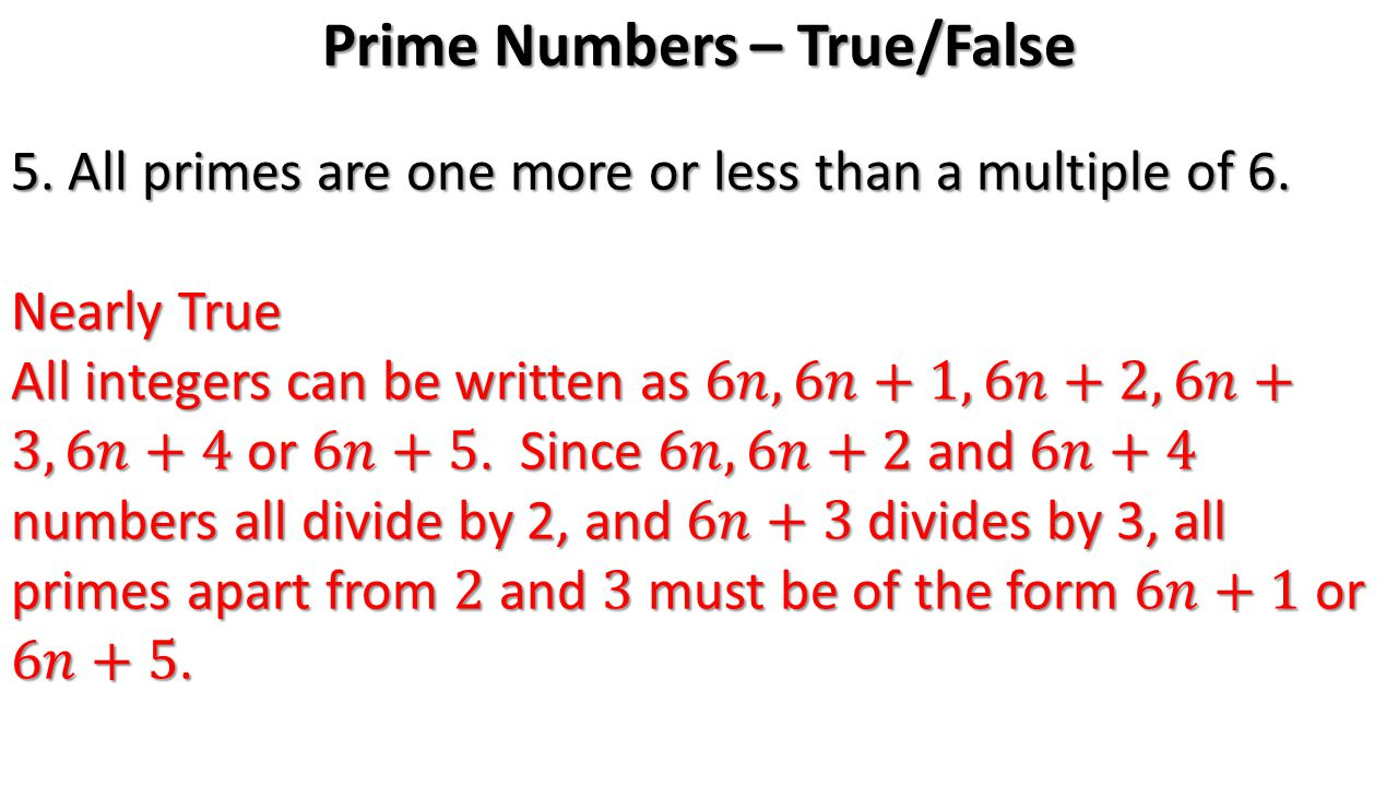 Prime Numbers – True/False