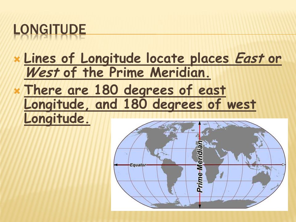  Lines of Longitude locate places East or West of the Prime Meridian.