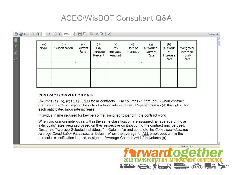 ACEC/WisDOT Consultant Q&A
