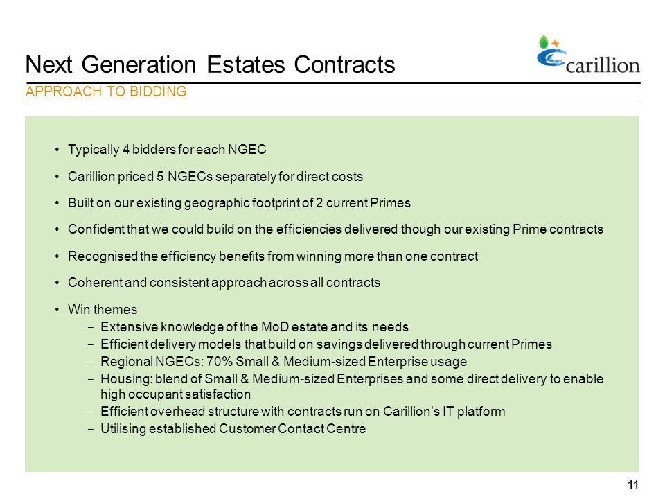 11 Next Generation Estates Contracts Typically 4 bidders for each NGEC Carillion priced 5 NGECs separately for direct costs Built on our existing geographic footprint of 2 current Primes Confident that we could build on the efficiencies delivered though our existing Prime contracts Recognised the efficiency benefits from winning more than one contract Coherent and consistent approach across all contracts Win themes − Extensive knowledge of the MoD estate and its needs − Efficient delivery models that build on savings delivered through current Primes − Regional NGECs: 70% Small & Medium-sized Enterprise usage − Housing: blend of Small & Medium-sized Enterprises and some direct delivery to enable high occupant satisfaction − Efficient overhead structure with contracts run on Carillion's IT platform − Utilising established Customer Contact Centre APPROACH TO BIDDING