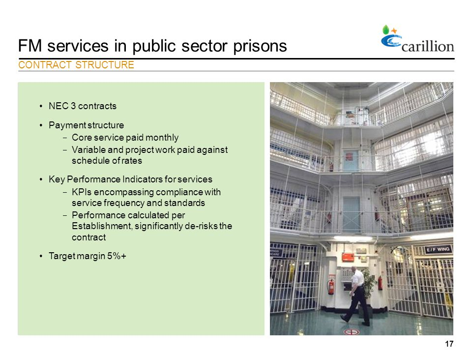 17 FM services in public sector prisons CONTRACT STRUCTURE NEC 3 contracts Payment structure − Core service paid monthly − Variable and project work paid against schedule of rates Key Performance Indicators for services − KPIs encompassing compliance with service frequency and standards − Performance calculated per Establishment, significantly de-risks the contract Target margin 5%+