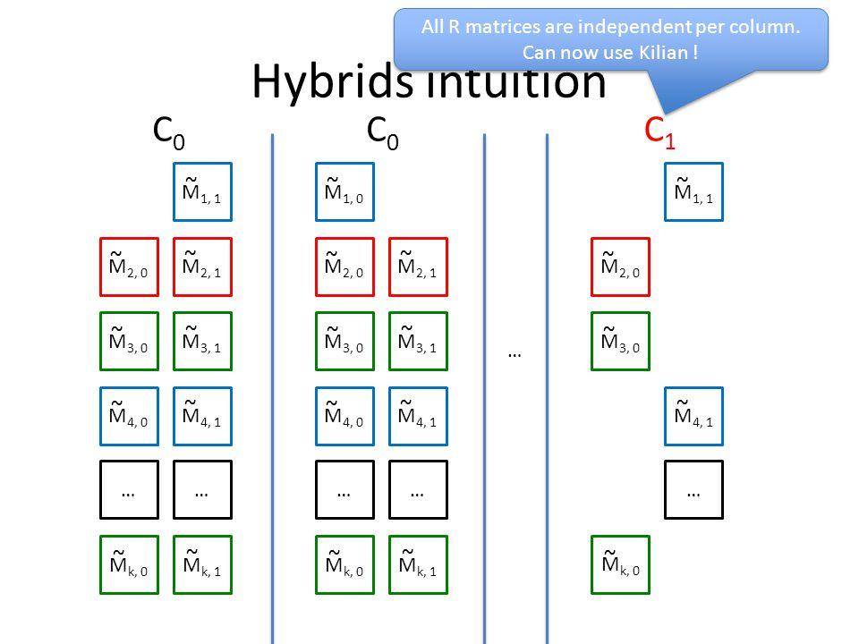 Hybrids intuition M 1, 1 M 2, 0 M 2, 1 M 3, 0 M 3, 1 M 4, 0 M 4, 1 …… M k, 0 M k, 1 ~ ~ ~ ~ ~ ~ ~ ~ ~ M 1, 0 M 2, 0 M 2, 1 M 3, 0 M 3, 1 M 4, 0 M 4, 1 …… M k, 0 M k, 1 ~ ~ ~ ~ ~ ~ ~ ~ ~ C0C0 C0C0 … M 1, 1 M 2, 0 M 3, 0 M 4, 1 … M k, 0 ~ ~ ~ ~ ~ C1C1 All R matrices are independent per column.