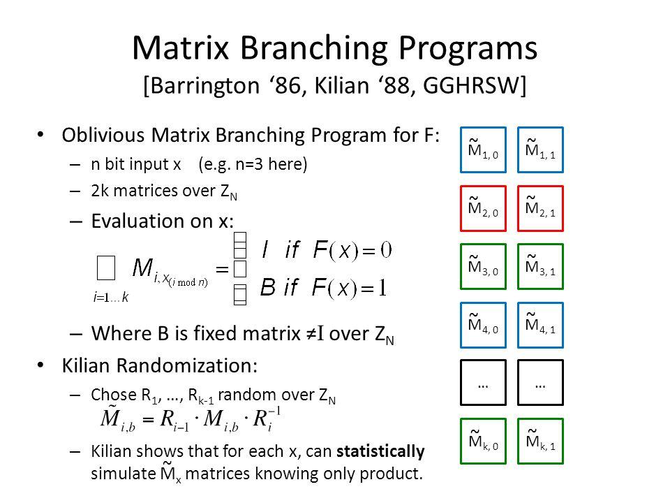 Matrix Branching Programs [Barrington '86, Kilian '88, GGHRSW] Oblivious Matrix Branching Program for F: – n bit input x (e.g. n=3 here) – 2k matrices