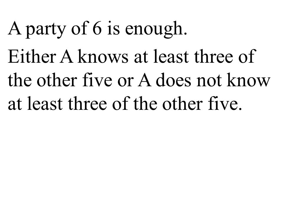A party of 6 is enough. Either A knows at least three of the other five or A does not know at least three of the other five.