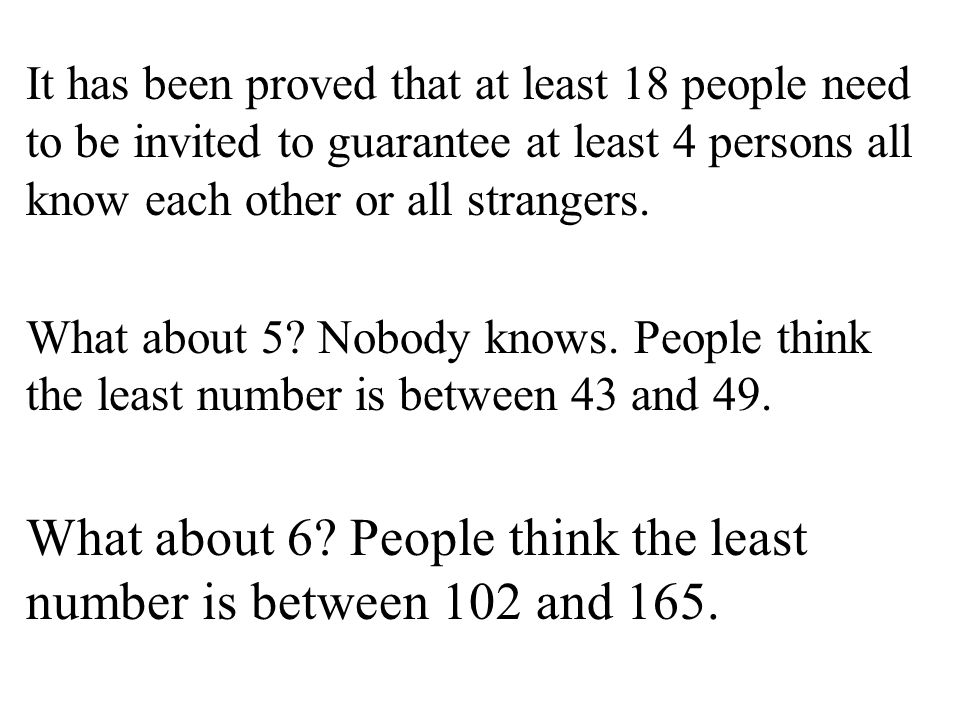 It has been proved that at least 18 people need to be invited to guarantee at least 4 persons all know each other or all strangers. What about 5? Nobo