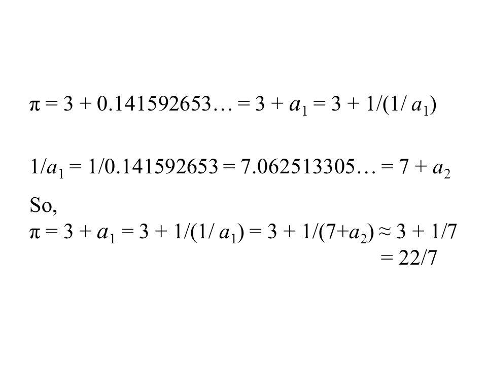 π = 3 + 0.141592653… = 3 + a 1 = 3 + 1/(1/ a 1 ) 1/a 1 = 1/0.141592653 = 7.062513305… = 7 + a 2 So, π = 3 + a 1 = 3 + 1/(1/ a 1 ) = 3 + 1/(7+a 2 ) ≈ 3 + 1/7 = 22/7