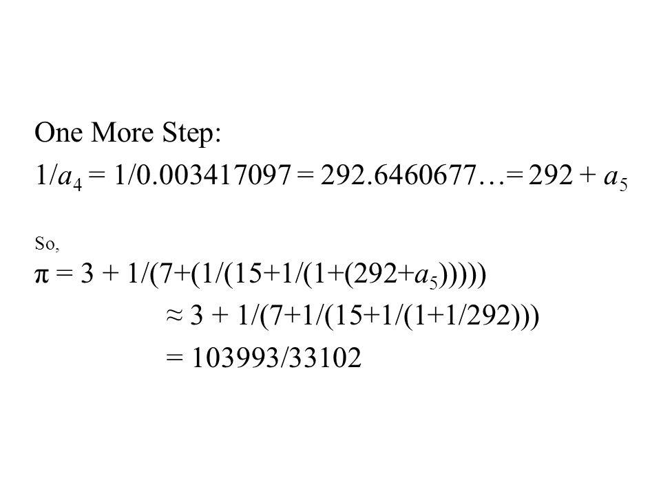One More Step: 1/a 4 = 1/0.003417097 = 292.6460677…= 292 + a 5 So, π = 3 + 1/(7+(1/(15+1/(1+(292+a 5 ))))) ≈ 3 + 1/(7+1/(15+1/(1+1/292))) = 103993/33102