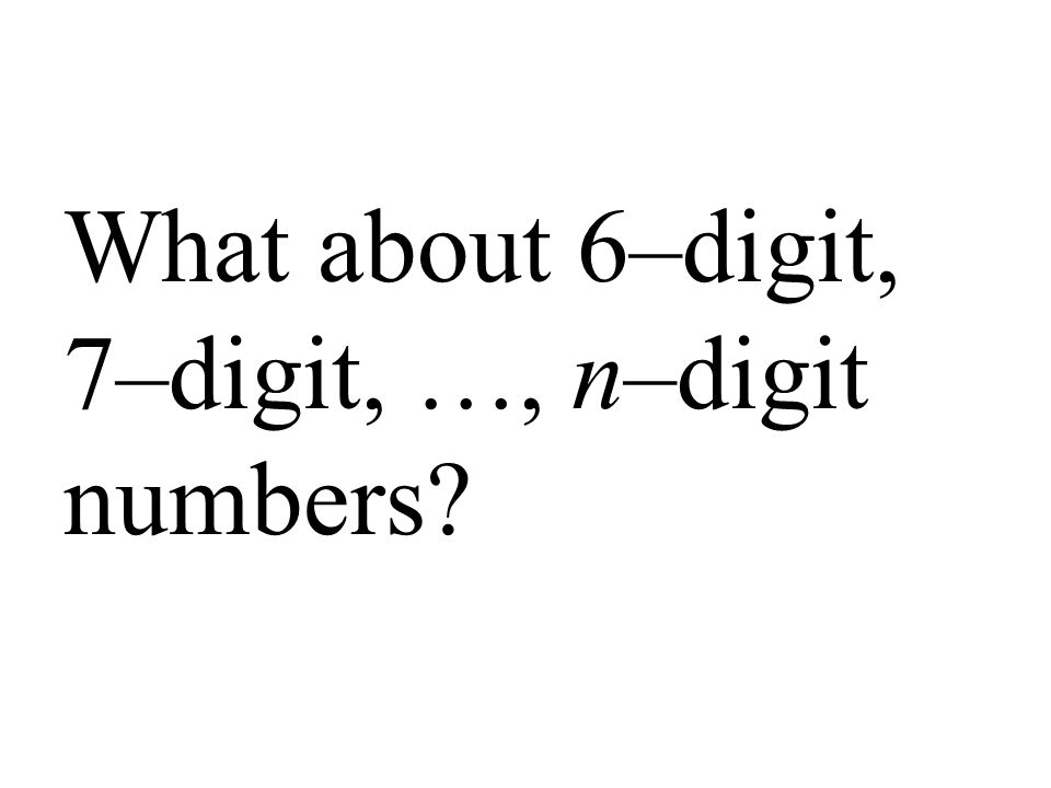 What about 6–digit, 7–digit, …, n–digit numbers?