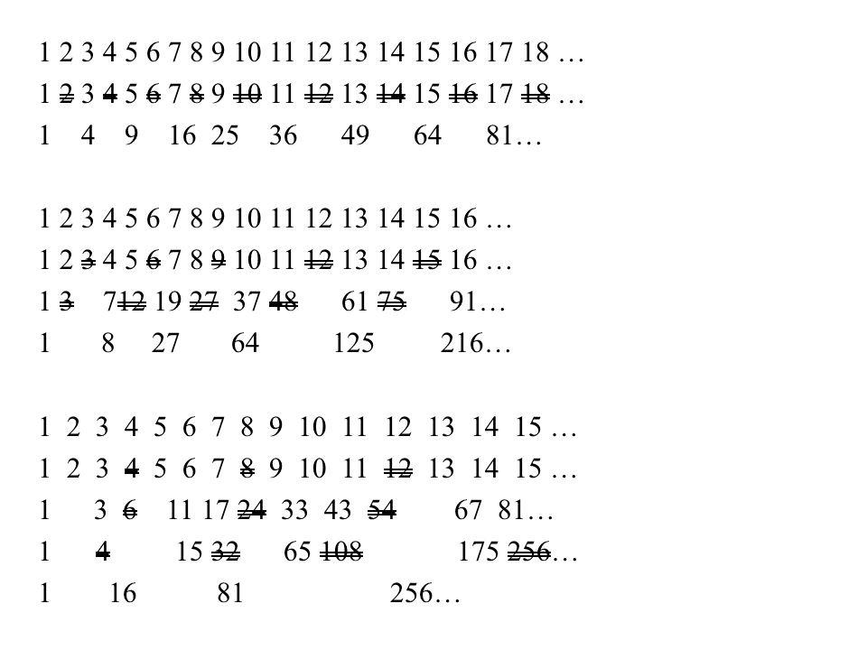 1 2 3 4 5 6 7 8 9 10 11 12 13 14 15 16 17 18 … 1 4 9 16 25 36 49 64 81… 1 2 3 4 5 6 7 8 9 10 11 12 13 14 15 16 … 1 3 712 19 27 37 48 61 75 91… 1 8 27 64 125 216… 1 2 3 4 5 6 7 8 9 10 11 12 13 14 15 … 1 3 6 11 17 24 33 43 54 67 81… 1 4 15 32 65 108 175 256… 116 81 256…