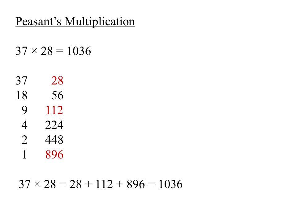 Peasant's Multiplication 37 × 28 = 1036 37 28 18 56 9112 4224 2448 1896 37 × 28 = 28 + 112 + 896 = 1036