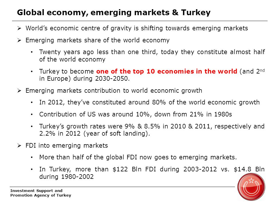 Investment Support and Promotion Agency of Turkey Global economy, emerging markets & Turkey  World's economic centre of gravity is shifting towards emerging markets  Emerging markets share of the world economy Twenty years ago less than one third, today they constitute almost half of the world economy Turkey to become one of the top 10 economies in the world (and 2 nd in Europe) during 2030-2050.