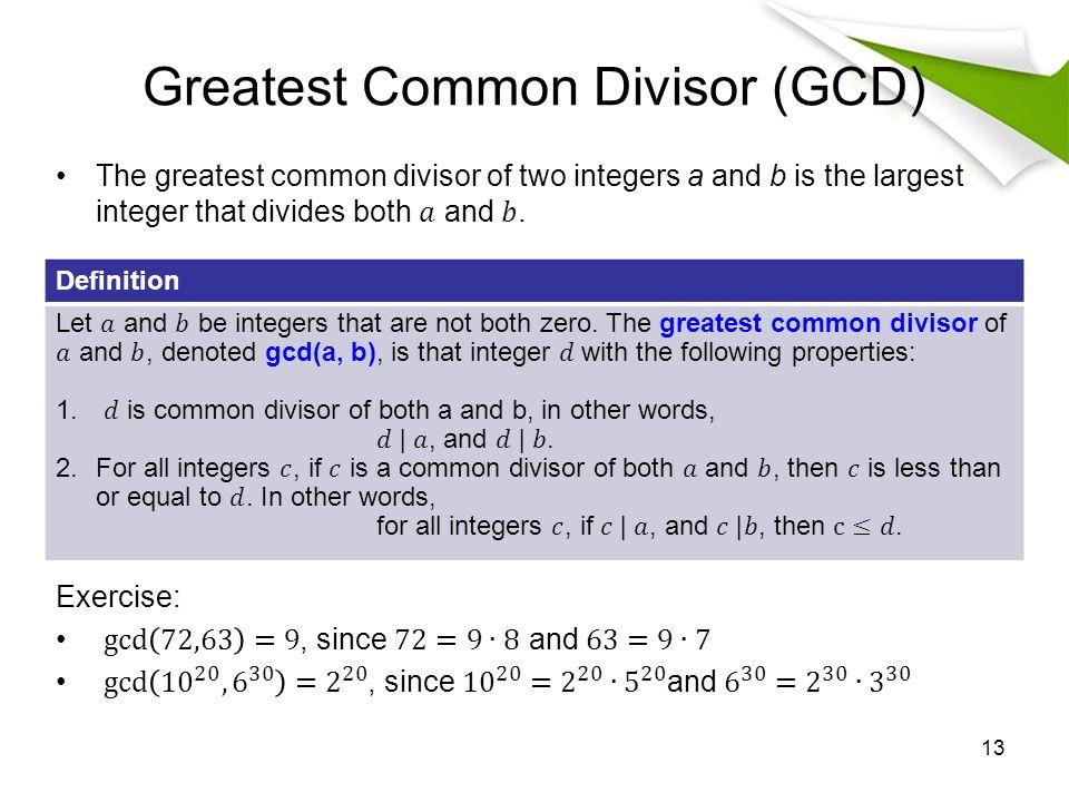Greatest Common Divisor (GCD) Definition 13