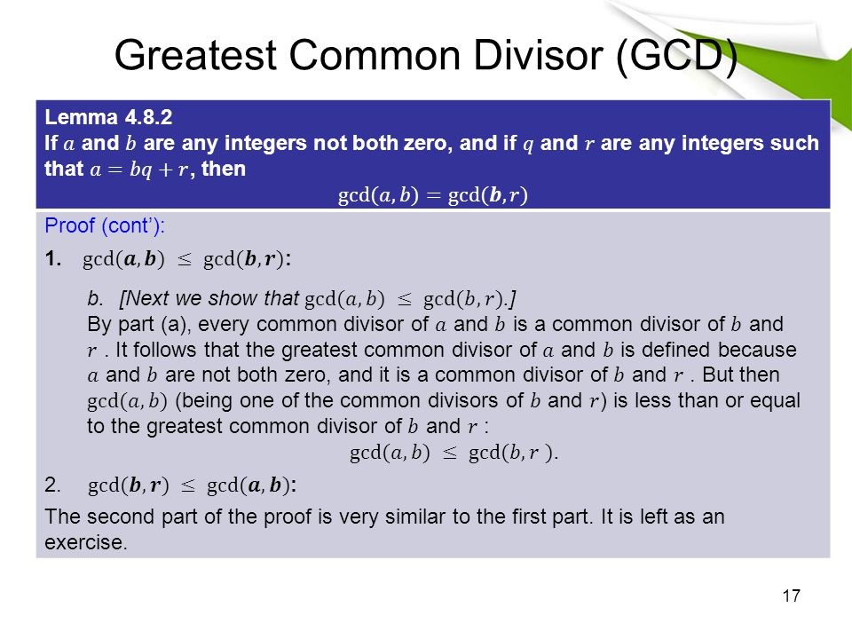 Greatest Common Divisor (GCD) 17