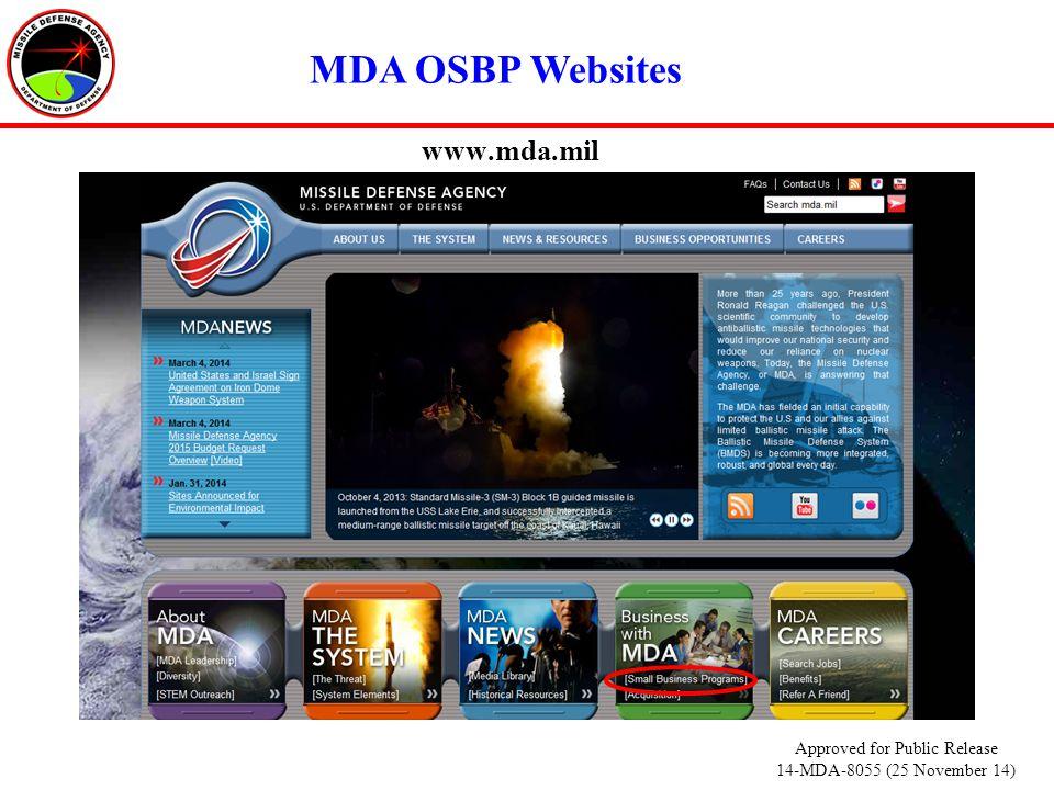 www.mda.mil MDA OSBP Websites Approved for Public Release 14-MDA-8055 (25 November 14)
