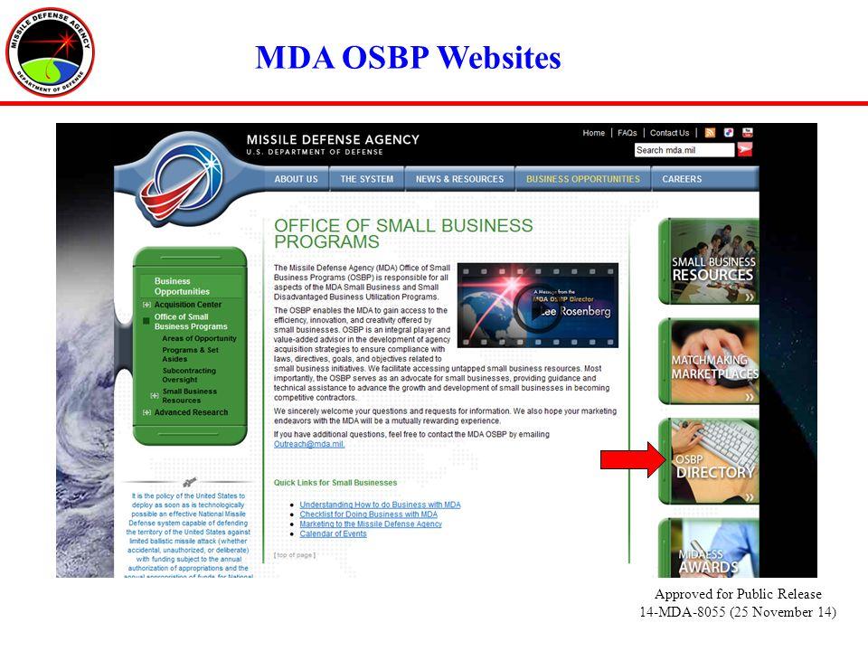 MDA OSBP Websites Approved for Public Release 14-MDA-8055 (25 November 14)