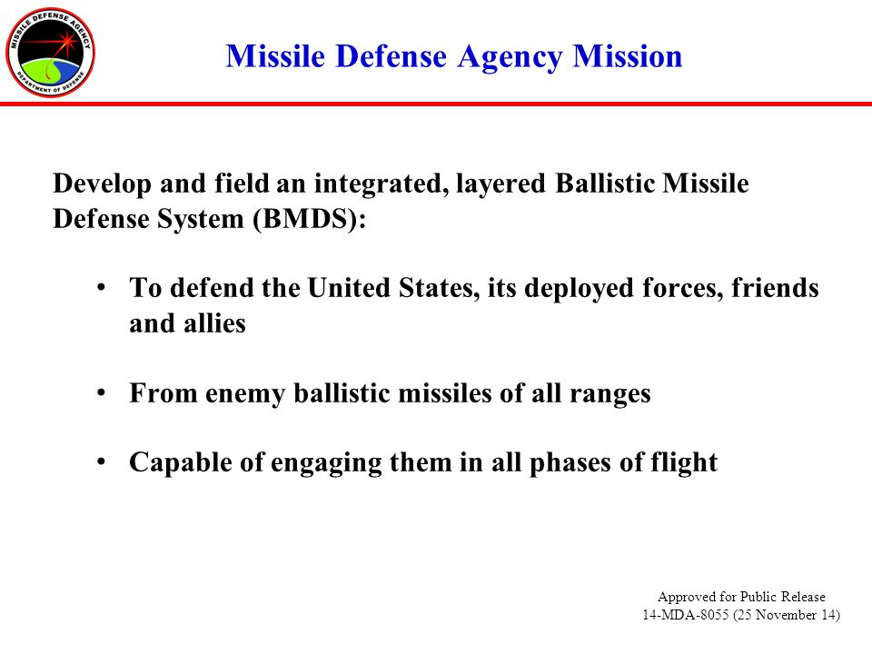 Missile Defense Agency Mission Develop and field an integrated, layered Ballistic Missile Defense System (BMDS): To defend the United States, its deployed forces, friends and allies From enemy ballistic missiles of all ranges Capable of engaging them in all phases of flight Approved for Public Release 14-MDA-8055 (25 November 14)