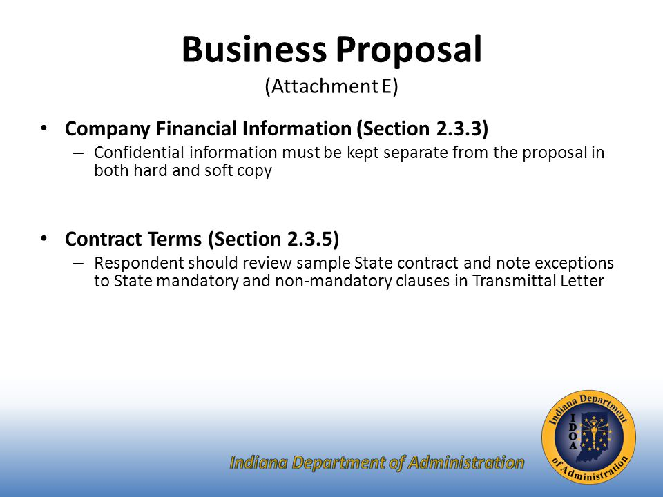 Technical Proposal (Attachment F) Please use the Template we have provided for you.