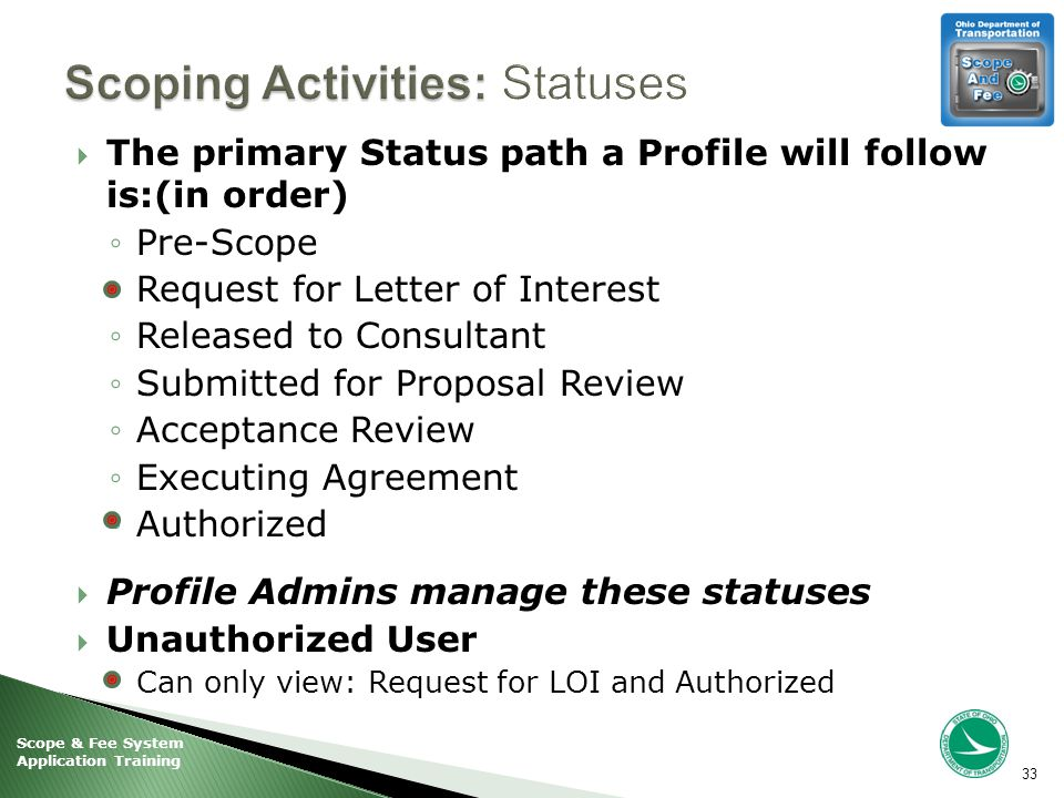 Scope & Fee System Application Training  The primary Status path a Profile will follow is:(in order) ◦Pre-Scope ◦Request for Letter of Interest ◦Released to Consultant ◦Submitted for Proposal Review ◦Acceptance Review ◦Executing Agreement ◦Authorized  Profile Admins manage these statuses  Unauthorized User ◦Can only view: Request for LOI and Authorized 33