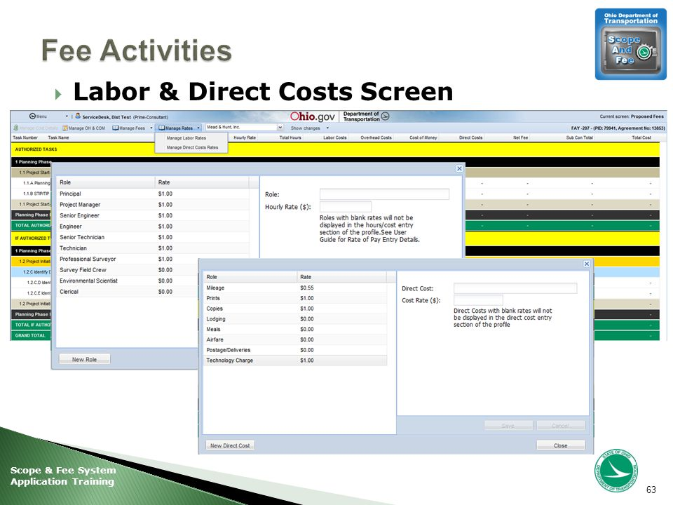 Scope & Fee System Application Training  Labor & Direct Costs Screen 63