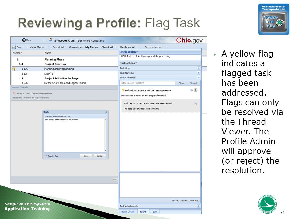 Scope & Fee System Application Training  A yellow flag indicates a flagged task has been addressed.