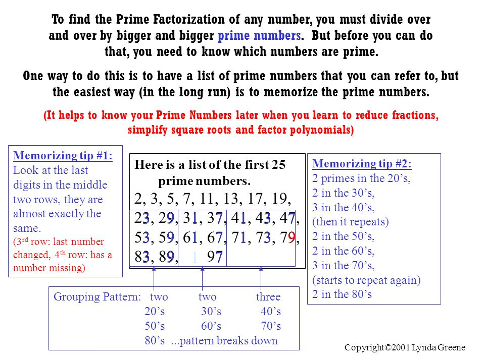 Practice Problems: (Hit enter to see the answers) Label each number below as prime, composite or neither 1) 73 5) 51 2) 87 6) 23 3) 77 7) 2 4) 29 8) 1 Answers: 1) prime 2) composite 3) composite 4) prime 5) composite 6) prime 7) prime 8) neither Copyright©2001 Lynda Greene