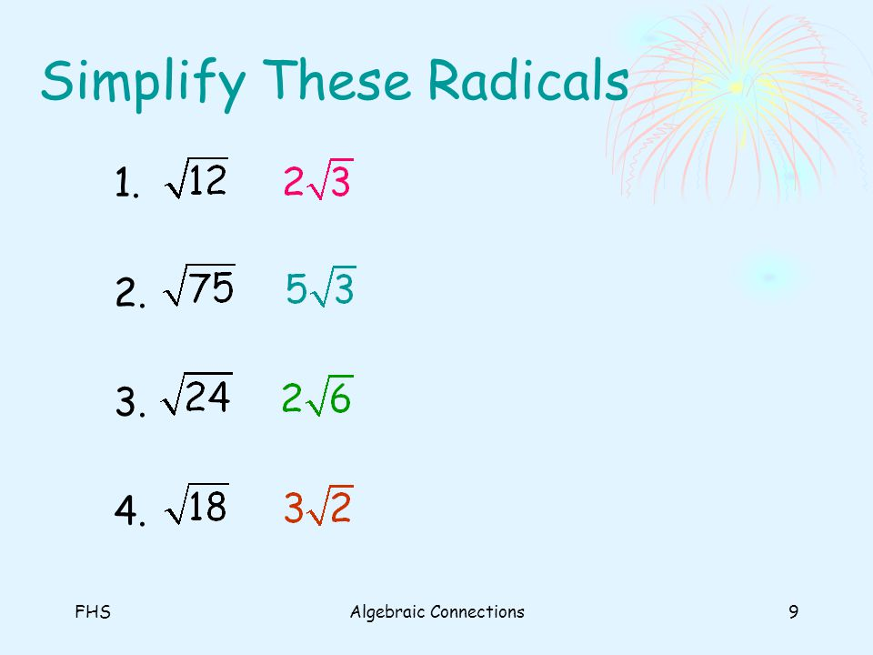 FHSAlgebraic Connections9 Simplify These Radicals 1. 2. 3. 4.
