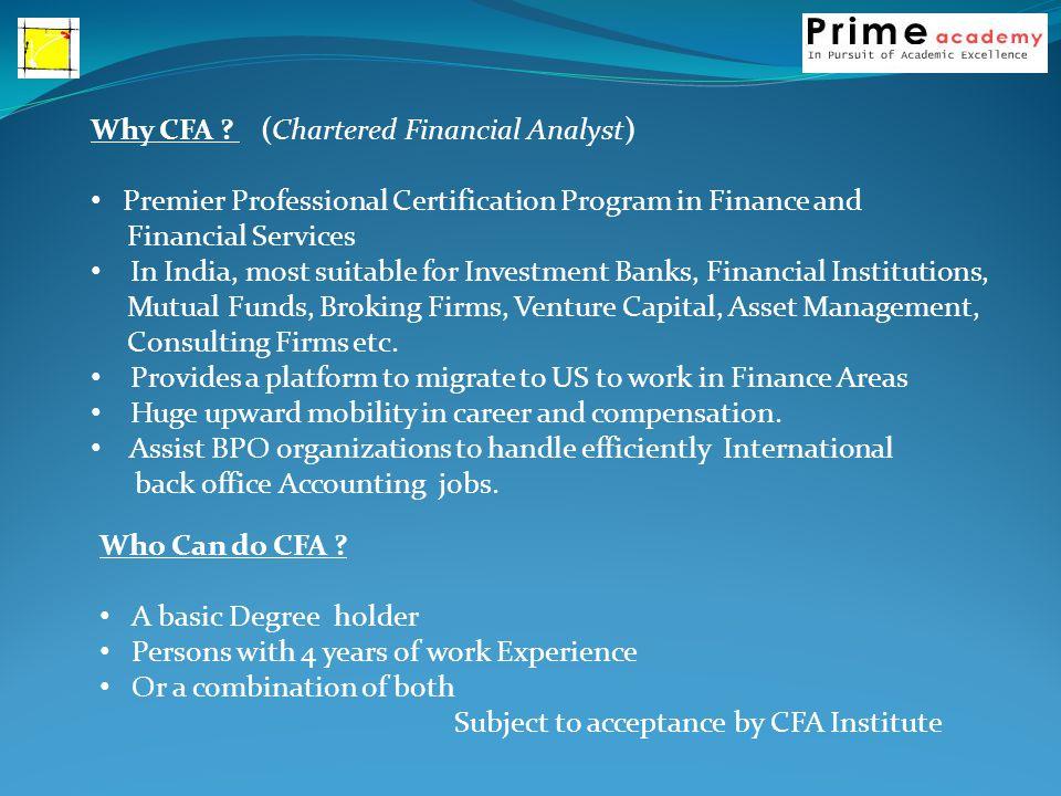 Why CFA .