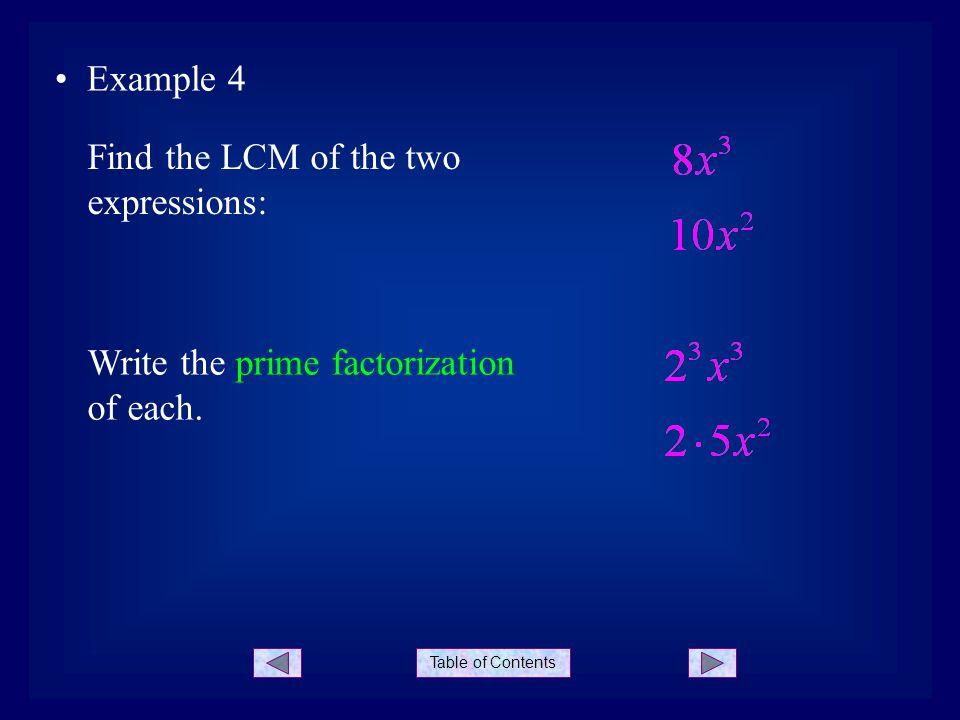 Table of Contents Example 4 Find the LCM of the two expressions: Write the prime factorization of each.