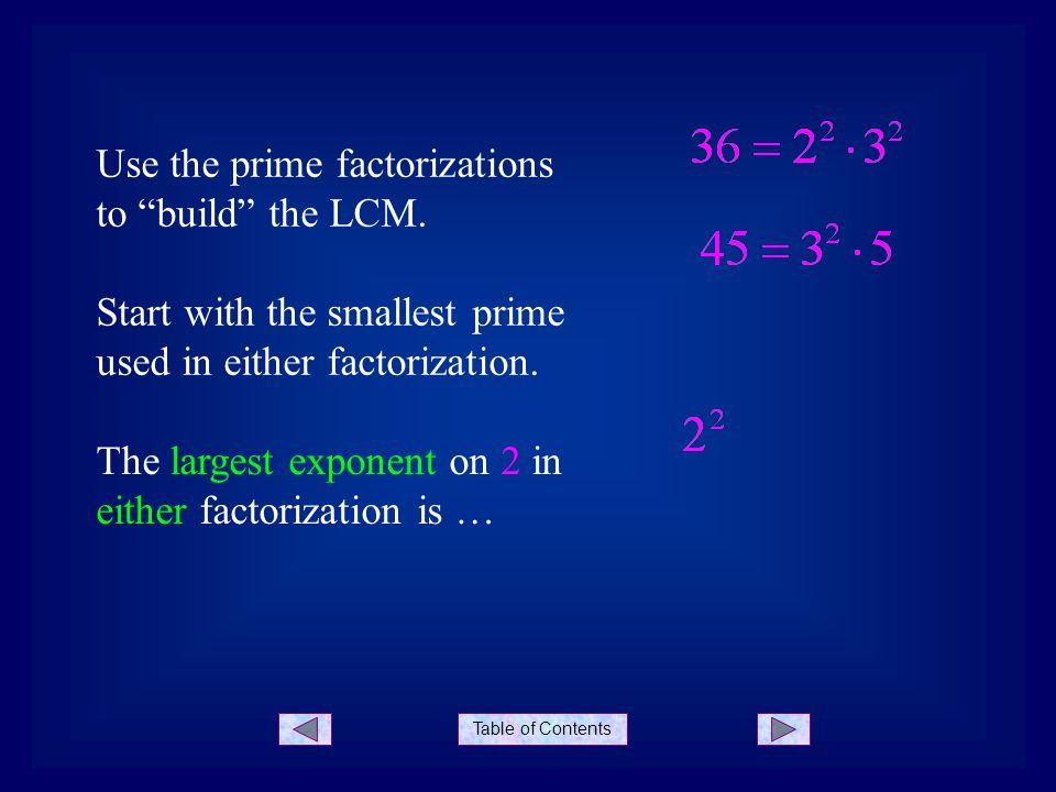"""Table of Contents Use the prime factorizations to """"build"""" the LCM. Start with the smallest prime used in either factorization. The largest exponent on"""