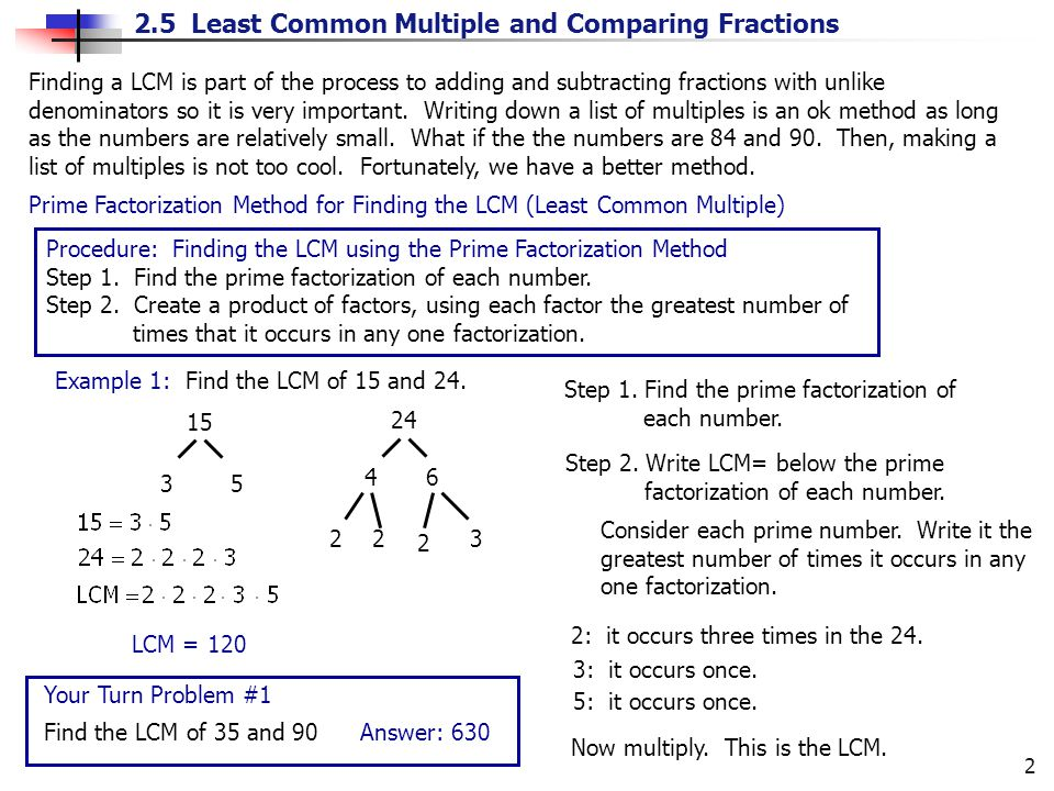2.5 Least Common Multiple and Comparing Fractions 2 Finding a LCM is part of the process to adding and subtracting fractions with unlike denominators so it is very important.