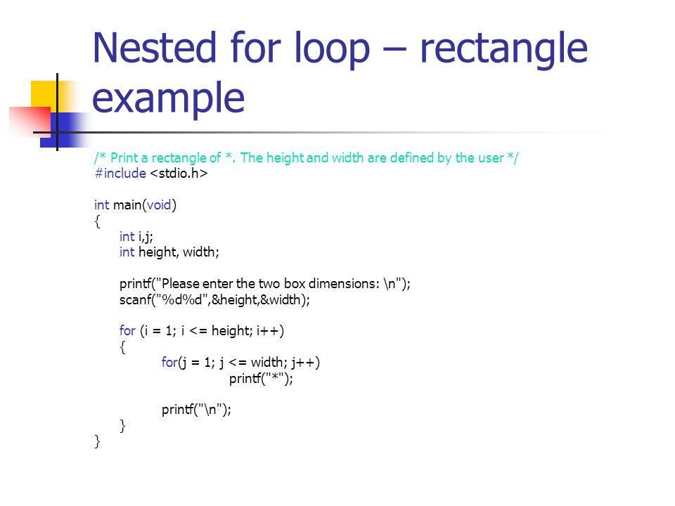 Nested for loop – rectangle example /* Print a rectangle of *.